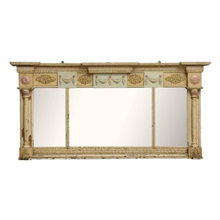 20th Century Traditional Tan Ornate Over Mantel Mirror For Sale