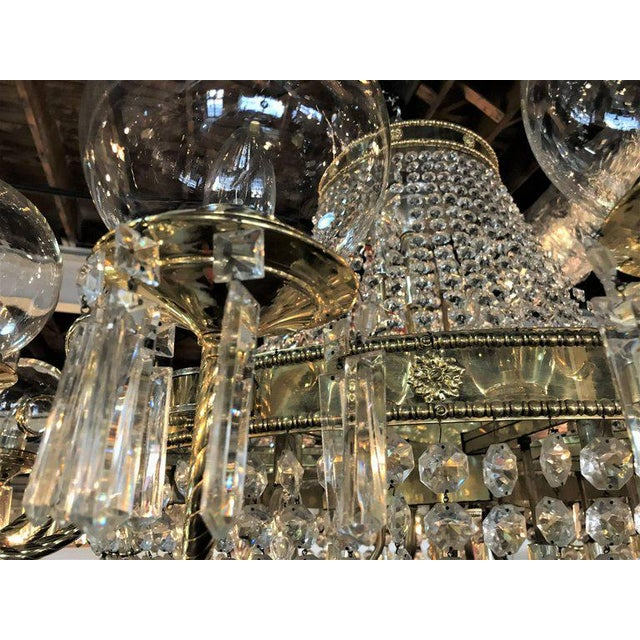 Transparent Palatial Neoclassical Brass and Crystal Basket Chandelier with Hanging Prisms For Sale - Image 8 of 10