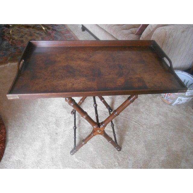 Knob Creek Burl Walnut Tea Tray Table - Image 7 of 7