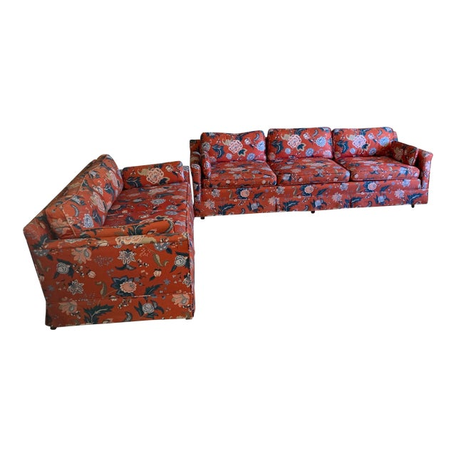 Incredible 1970S Vintage Floral Patterned Sofa And Loveseat Gmtry Best Dining Table And Chair Ideas Images Gmtryco