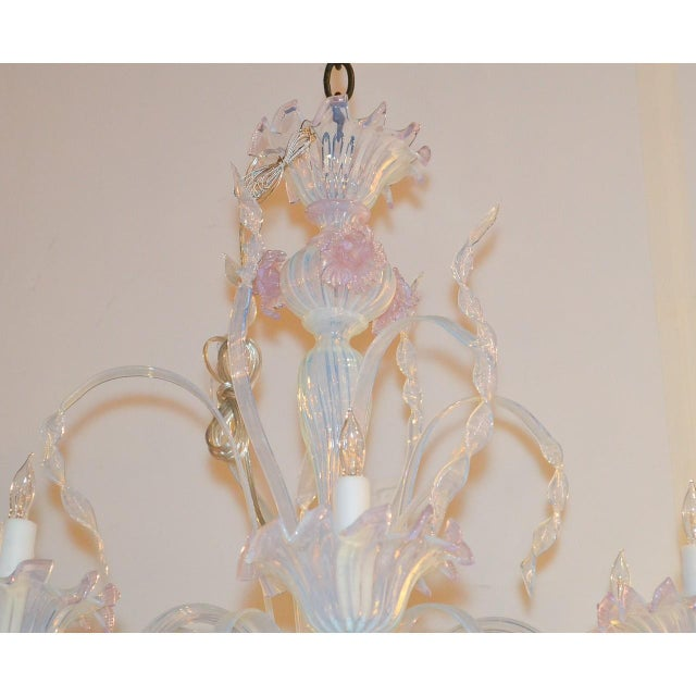 Blue Antique Murano Blown Glass Opalescent Chandelier For Sale - Image 8 of 9