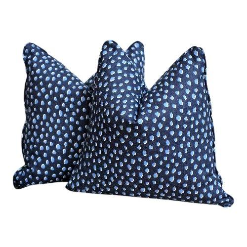 Kate Spade Blue Dalmatian Print Pillows - a Pair For Sale