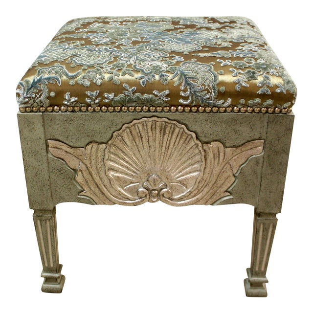 Swedish Stool With Shell Carving For Sale