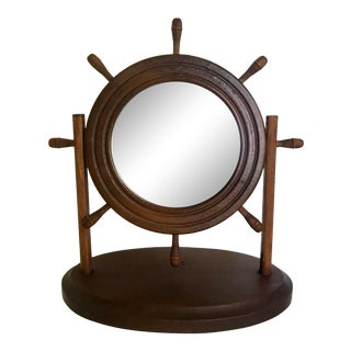 Vintage Wood Ship Wheel Vanity Table Mirror For Sale
