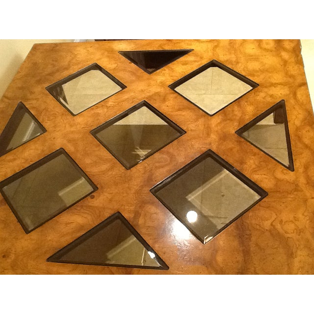 Wood Coffee Table With Smoked Glass Top Insert - Image 5 of 10