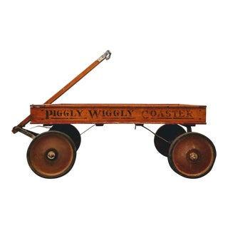 Antique Painted Wood Piggly Wiggly Coaster Wagon From Park Blvd San Diego Grocery Store For Sale