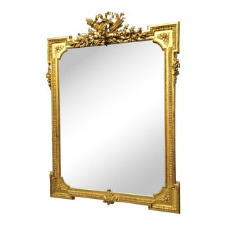 Antique French Louis XVI Fine Gold Leaf Mirror with Beveled Glass.