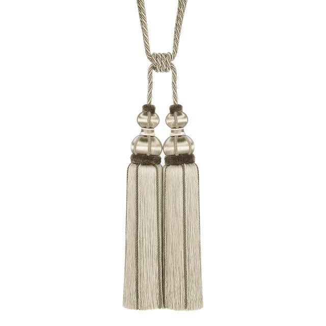 """Taupe Double Tassel Tieback With Cut Ruche- Height 17"""" For Sale In Charlotte - Image 6 of 6"""