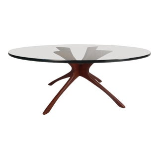 Mid-Century Modern Glass Top Coffee Table by Adrian Pearsall For Sale