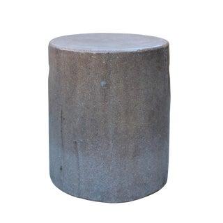 Chinese Ceramic Clay Mauve Beige Glaze Round Flat Column Garden Stool