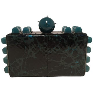 Tonya Hawkes Black Teal and Green Leather Paint Splatter Convertible Clutch For Sale