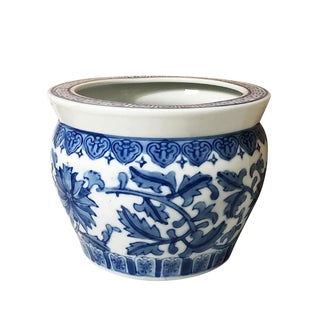 Chinoiserie Blue and White Porcelain Ceramic Planter Pot or Vessel Vase For Sale