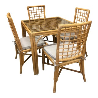 Vintage Bamboo Dining Set For Sale