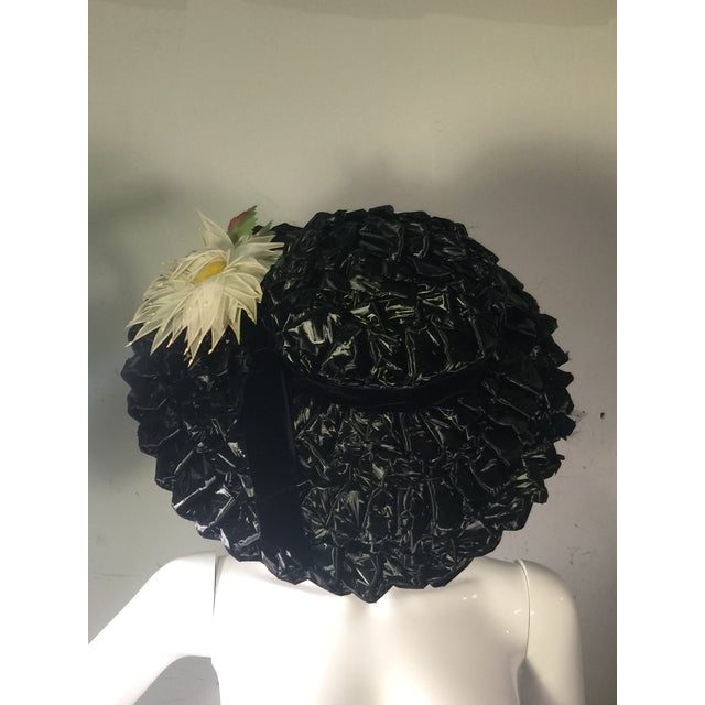 Yellow 1940's Vintage Great Black Ribbon Hat With Amazing Silk Flower For Sale - Image 8 of 13