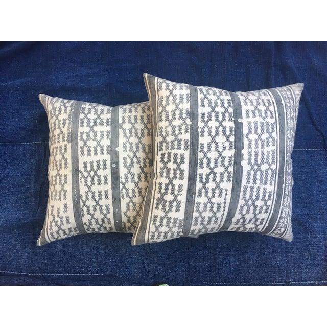 Silver Tribal Batik Pillows - A Pair - Image 6 of 7
