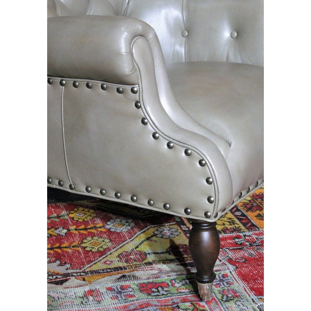 Vanguard Furniture Vanguard Tufted Gray Leather Logan Chair For Sale - Image 4 of 5