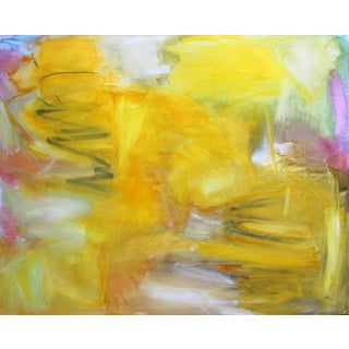 """""""Fields of Gold"""" by Trixie Pitts Large Abstract Expressionist Oil Painting on Linen For Sale"""