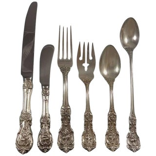 Francis I Reed & Barton Sterling Silver Flatware Eight Set 54 Pieces Script Mark For Sale
