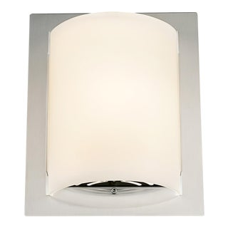 Featured Brushed Nickel and Glass Wall Light For Sale