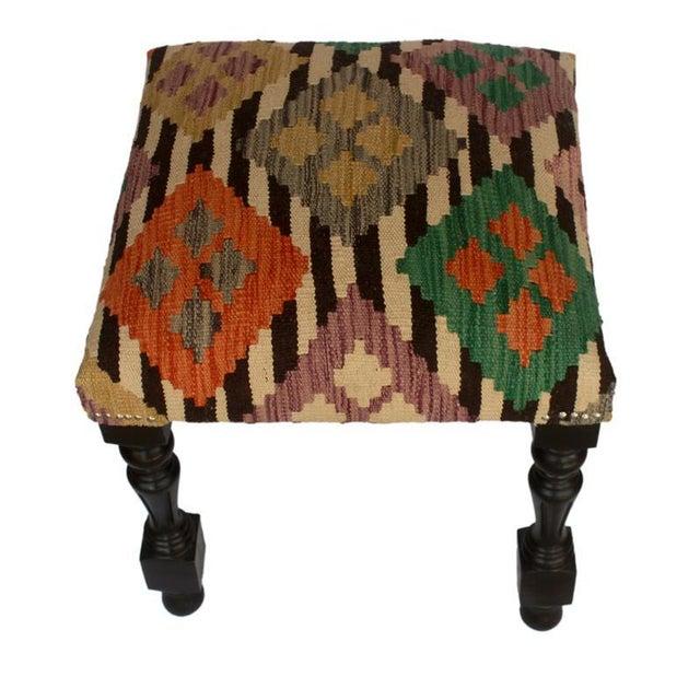 Arshs Dora Chocolate/Ivory Kilim Upholstered Handmade Ottoman For Sale - Image 4 of 8