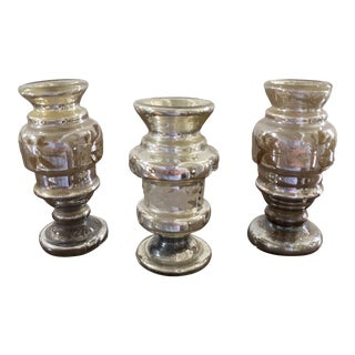 Late 19th Century Antique Mercury Glass Vases - Set of 3 For Sale