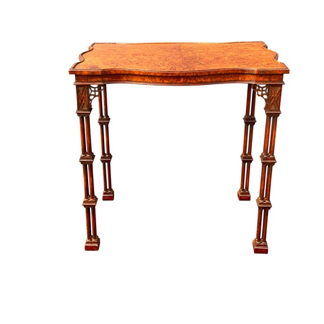 George III Style Burl Walnut and Mahogany China Table Attributed to Gillow For Sale - Image 4 of 11