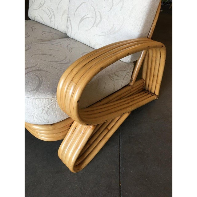 "Restored 4 Strand ""R"" Arm 2 Seat Sectional Rattan Corner Sofa W/ Side Table Set For Sale In Los Angeles - Image 6 of 9"