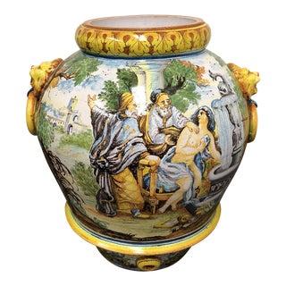 Hand Painted Majolica Earthenware Urn