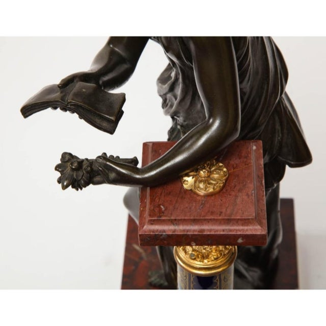 Exquisite French Bronze, Rouge Marble, and Sèvres Style Porcelain Sculpture For Sale - Image 12 of 13