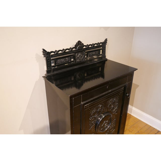Traditional Victorian Ebonized Vinyl Records Cabinet For Sale - Image 3 of 6