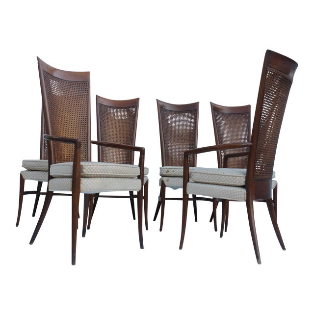 Robsjohn Gibbins Style Teak Cane Tall Back Dining Chairs Set of 6 For Sale
