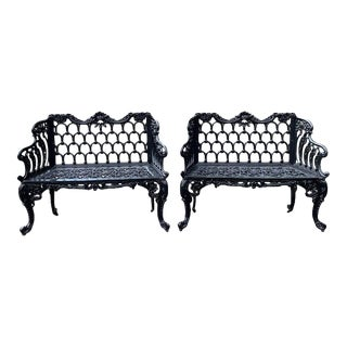 Pair of 19th Century Cast Iron Garden Benches For Sale