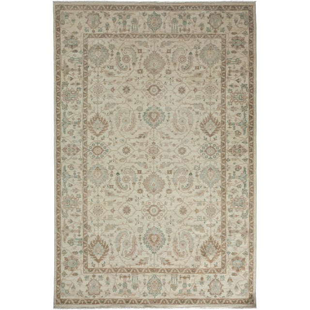 "Oushak Hand Knotted Area Rug - 6'0"" X 9'1"" For Sale - Image 4 of 4"