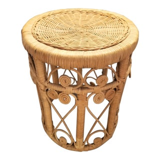 1960s Vintage Rattan Peacock Wiicker Stool For Sale