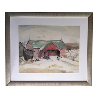1970s Vintage Ivy Goldhamer Stone Old Barn Framed Watercolor Painting For Sale
