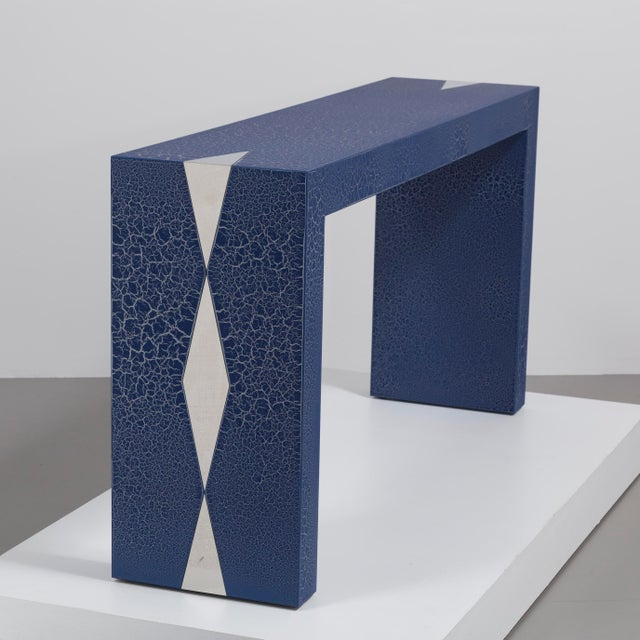 Talisman Bespoke The Crackle Console Table by Talisman Bespoke (Navy and Silver) For Sale - Image 4 of 6