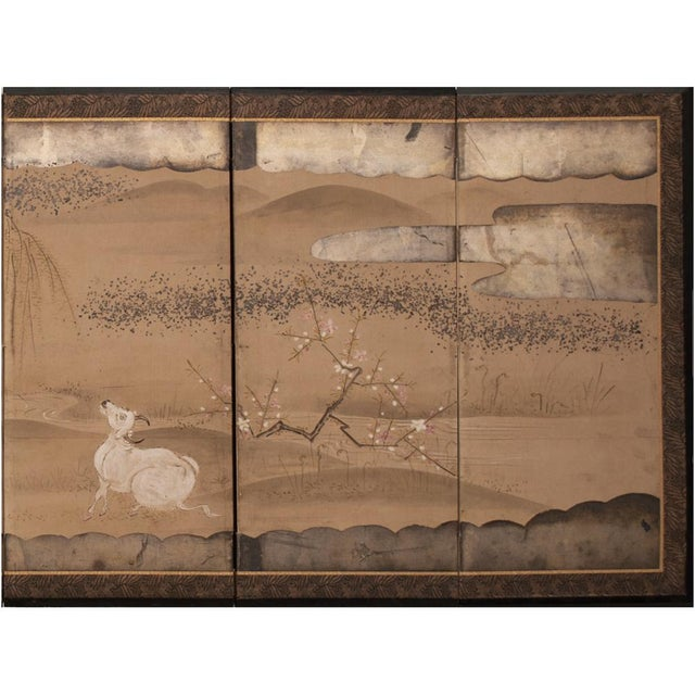 19th Century Late Edo Era Gold Leaf Japanese Byobu Screens- a Pair For Sale - Image 9 of 13