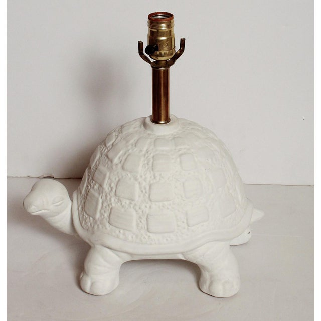 American Modern White Plaster Turtle Table Lamp For Sale - Image 3 of 11