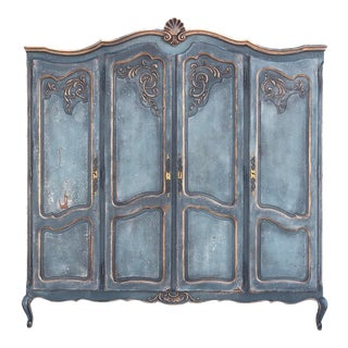 Vintage Country French Four Door Armoire For Sale