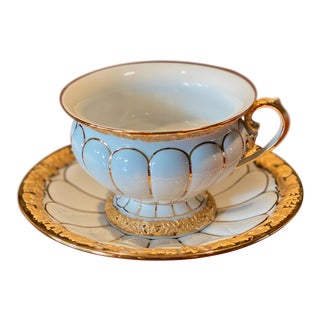 Meissen X Form Gold Porcelain Tea Cup With Saucer For Sale
