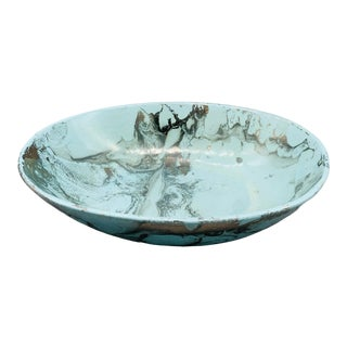 Vintage Sascha Brastoff Surf Ballet Turquoise Oval Vegetable Bowl For Sale