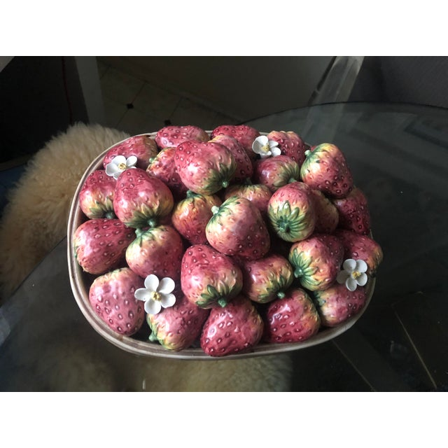 Vintage Italian Majolica Style large Strawberry Platter Designed by Jay Willfred and manufactured by Andrea by Sadek in...