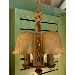 Small 1930s Art Deco Slip Shade Chandelier Preview
