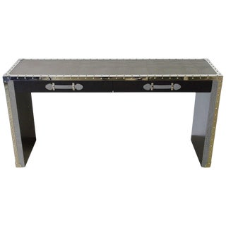 Gray Leather and Studded Stainless Steel Console Table by Fabio Ltd For Sale