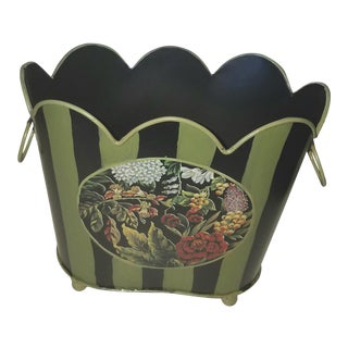 1980s Scalloped Oval Black and Green Tole Cachepot With Floral Motifs For Sale