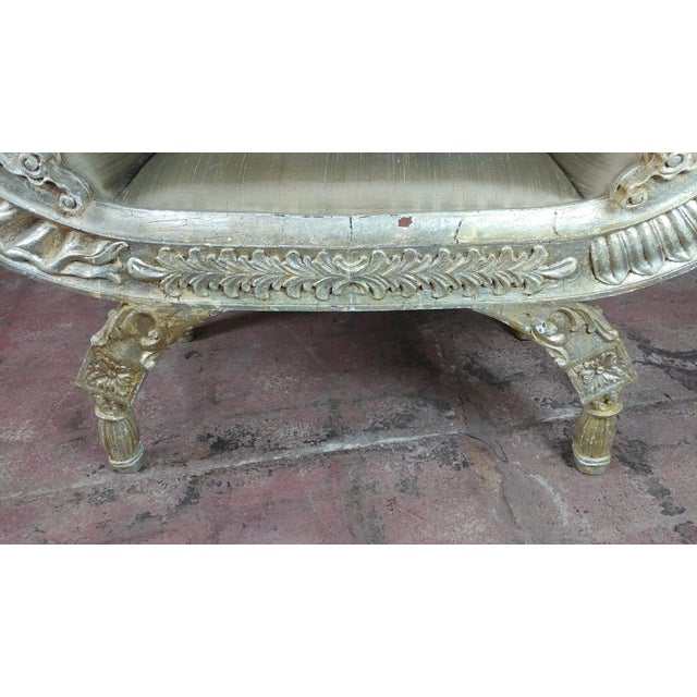 1950s Silver Gilt & Upholstery Vintage Bed or Window Bench For Sale - Image 5 of 10