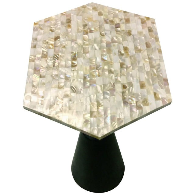 Mother-Of-Pearl & Metal Side Table - Image 5 of 6