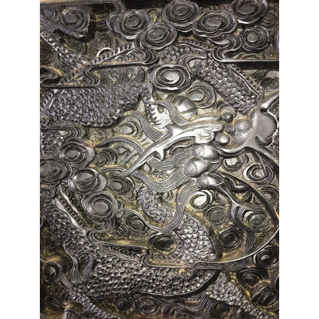 Large Antique Hand Carved Black Lacquer Plaque For Sale - Image 5 of 7