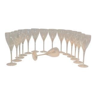 Lenox Crystal Encore Pattern Long Stem Wine Glasses - Set of 15 For Sale