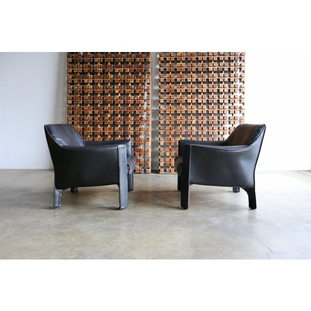 Animal Skin Mid-Century Modern Mario Bellini Black Leather Lounge Chairs - a Pair For Sale - Image 7 of 11
